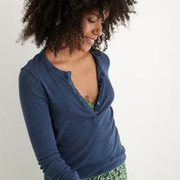 Aerie Ribbed Henley Long Sleeve T-Shirt | American Eagle Outfitters (US & CA)
