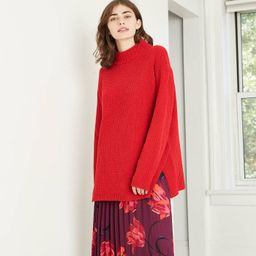 Women's Mock Turtleneck Chenille Tunic Pullover Sweater - A New Day™ Red | Target