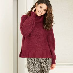 Women's solid-hued pullover sweater with a cable-knit design | Target