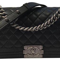 Chanel Boy Bag Quilted Caviar Silver-tone Old Medium Black | StockX