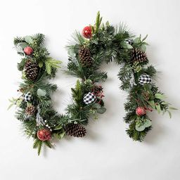 Garland with Red and Buffalo Check Ornaments | Kirkland's Home