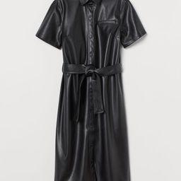 H & M - Faux Leather Dress - Black   H&M (US)