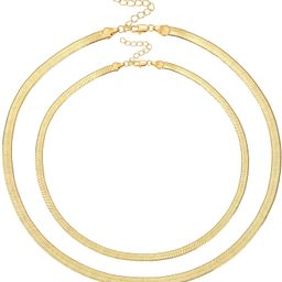 Fiuse 14K Gold Plated Herringbone Choker Necklaces Snake Chains for Women and Girls, Dainty Handm... | Amazon (US)