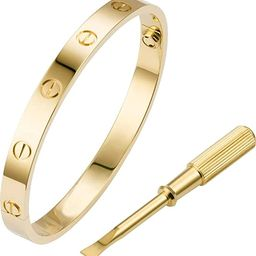 QAZXS Love Bracelet Promise with Screw Design Love Bangle Hinged Jewelry Best Gifts for Love Vale... | Amazon (US)