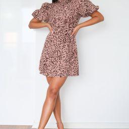 Blush Dalmatian Print High Neck Puff Sleeve Dress | Missguided (US & CA)