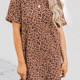 Patiently Waiting Animal Print Brown Dress | The Pink Lily Boutique