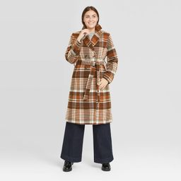 Women's Double Breasted Wrap Coat - A New Day Plaid XS   Target
