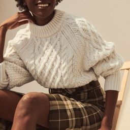 Soft, cable-knit sweater with wool content. Long raglan sleeves and ribbing at neckline, cuffs, a... | H&M (US)