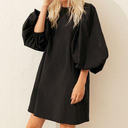 Short, A-line dress in woven fabric with a slight sheen. Round neckline, opening at back of neck ... | H&M (US)