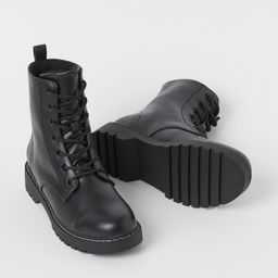 Warm-lined ankle-length boots in shiny faux leather. Lacing at front and loop at back. Fabric lin... | H&M (US)