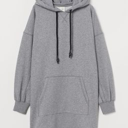 Short sweatshirt dress in soft, cotton-blend fabric. Jersey-lined hood with drawstring. Large kan... | H&M (US)