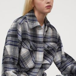 Oversized shirt jacket in woven fabric with soft, brushed inside. Collar, buttons at front, and y... | H&M (US)