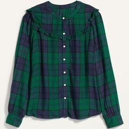 Plaid Ruffle-Yoke Flannel Shirt for Women | Old Navy (US)