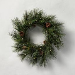 """24"""" Indoor/Outdoor Pre-Lit LED Faux Pine Wreath with Pinecones - Hearth & Hand™ with Magnolia   Target"""