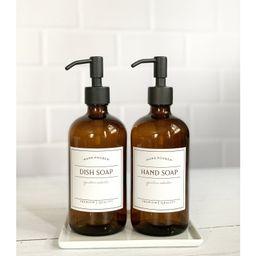 16oz Glass Soap Dispenser, Dish Soap Bottle With Waterproof Label, Hand Soap Pump, Refillable Soa...   Etsy (US)