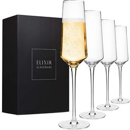 Classy Champagne Flutes - Hand Blown Crystal Champagne Glasses - Set of 4 Elegant Flutes, 100% Le...   Amazon (US)