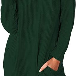 Sovoyontee Women's Long Sleeve Baggy Oversized Turtleneck Pullover Sweater Dress with Pockets   Amazon (US)