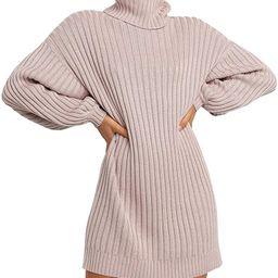YIBOCK Women's Turtleneck Plaid Side Split Loose Checked Long Pullover Sweater Dress   Amazon (US)