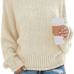 ZESICA Women's Turtleneck Sweaters Long Batwing Sleeve Oversized Chunky Knitted Pullover Tops   Amazon (US)