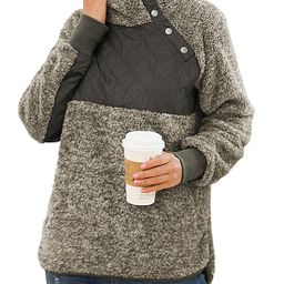 VIISHOW Women's Long Sleeves Quilt Coat Turtleneck Oblique Button Neck Fleece Pullover Coat Sweat...   Amazon (US)
