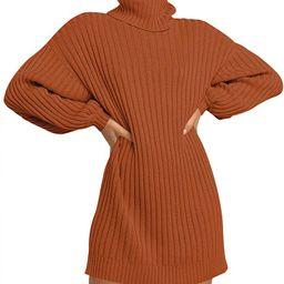 ANRABESS Women Turtleneck Long Lantern Sleeve Casual Loose Oversized Sweater Dress Soft Winter Pu...   Amazon (US)