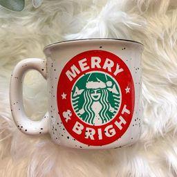 Merry & Bright Starbucks Glitter Campfire Mug / Christmas Mug  / Merry Christmas Mug / Fall Mug  ... | Etsy (US)