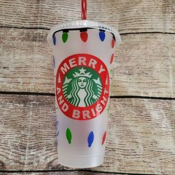 Merry and bright Christmas lights lets get lit custom starbucks venti cold cup tumbler | Etsy (US)