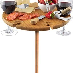 Bamboo Portable Outdoor Wine Table Set - Picnic Cheese Board with Stainless Steel Serving Utensil...   Amazon (US)