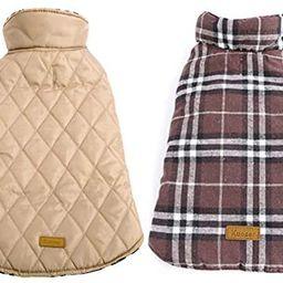 Kuoser Cozy Waterproof Windproof Reversible British Style Plaid Dog Vest Winter Coat Warm Dog App...   Amazon (US)