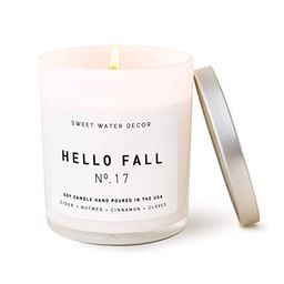 Sweet Water Decor Hello Fall Candle   Cinnamon, Apples, and Clove Autumn Scented Soy Wax Candle f...   Amazon (US)