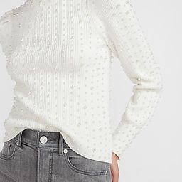 Pearl Embellished Crew Neck Sweater   Express