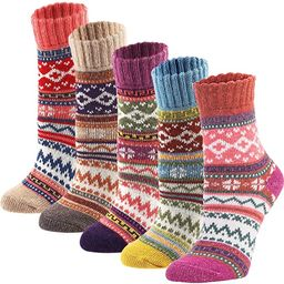 YZKKE 5Pack Womens Vintage Winter Soft Warm Thick Cold Knit Wool Crew Socks, Multicolor, free siz...   Amazon (US)