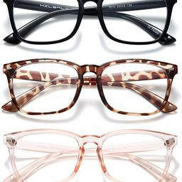 HILBALM Blue Light Blocking Glasses 3 Pack Women and Man Computer Eyeglasses Frame Glasses (Black... | Amazon (US)