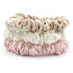 Mulberry Park Silks - Small - Ivory / Pink / Sand (3 Pack) - 100% Pure Silk Hair Scrunchies - Gen... | Amazon (US)