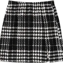 SheIn Women's Basic Stretch Plaid Mini Bodycon A-Line Pencil Skirt | Amazon (US)
