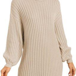 ANRABESS Women Turtleneck Long Lantern Sleeve Casual Loose Oversized Sweater Dress Soft Winter Pu... | Amazon (US)