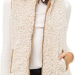 FASHION BOOMY Women's Quilted Padding Vest - Reversible Sherpa Fleece Zip Up Jacket with Pockets | Amazon (US)