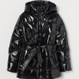 Belted Patent Puffer Jacket   H&M (US)