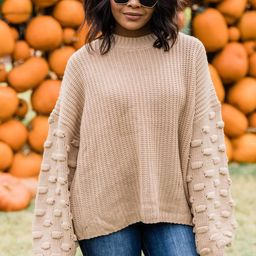 Perfect Time For Love Taupe Sweater   The Pink Lily Boutique