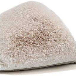 FANTURE Women's Furry Faux Fur Slippers Cozy Memory Foam House Slippers Soft Comfy Flat Slide San... | Amazon (US)