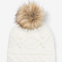 Cozy Cable Knit Pom Beanie Women's White | Express