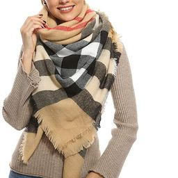 Stylish Plaid Blanket Oversized Warm Scarf - Chunky Tartan Wrap Shawl   Amazon (US)