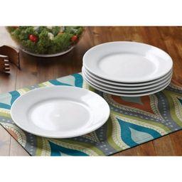 Better Homes & Gardens Round Rim Salad Plates, White, Set of 6 | Walmart (US)
