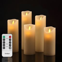 """Vinkor Flameless Candles Battery Operated Candles Set Decorative Flameless Candles 4"""" 5"""" 6"""" 7"""" 8""""...   Amazon (US)"""