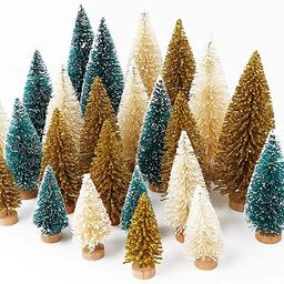 AerWo 24PCS Artificial Mini Christmas Trees, Sisal Trees with Wood Base Bottle Brush Trees for Ch...   Amazon (US)