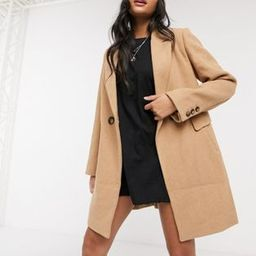 Stradivarius double breasted tailored coat in camel   ASOS (Global)