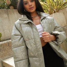 ASOS DESIGN vinyl puffer jacket in sage   ASOS (Global)