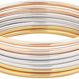 Edforce Stainless Steel Glossy Thin Round Bangle Bracelet Set for Women, Set of 7 | Amazon (US)