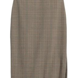 Plaid Cotton-Wool Blend Pencil Skirt with Side Slit | Banana Republic (US)
