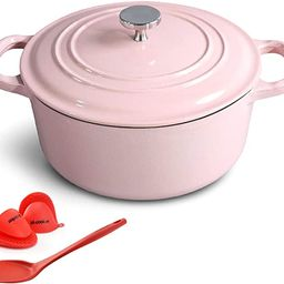M-cooker 4.5 Quart Enameled Dutch Oven with Self Basting Lid Household Cast Iron Soup Pot Non-sti...   Amazon (US)